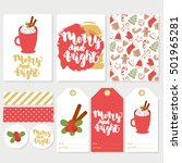 cute set with winter cards ... | Shutterstock .eps vector #501965281
