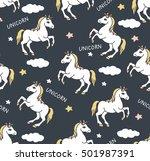 unicorns seamless pattern.... | Shutterstock .eps vector #501987391
