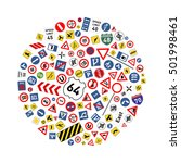 a lot of road signs arranged in ... | Shutterstock .eps vector #501998461