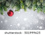 christmas tree with red ball in ... | Shutterstock . vector #501999625