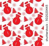 seamless pattern of snowmen | Shutterstock .eps vector #502020445