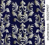 luxury baroque damask blue... | Shutterstock .eps vector #502029907