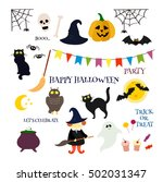 cute happy halloween vector... | Shutterstock .eps vector #502031347