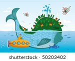 a large fish with a settlement... | Shutterstock .eps vector #50203402