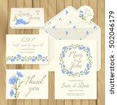 vector set of vintage floral... | Shutterstock .eps vector #502046179