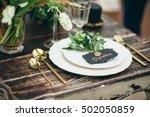 wedding decor  flowers  black... | Shutterstock . vector #502050859