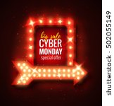 cyber monday sale retro light... | Shutterstock .eps vector #502055149