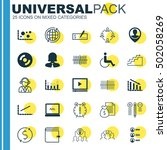 set of 25 universal editable... | Shutterstock .eps vector #502058269