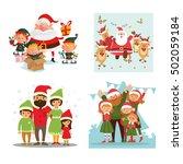 set christmas  family  santa... | Shutterstock .eps vector #502059184