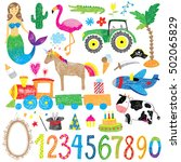 childhood doodle set | Shutterstock .eps vector #502065829
