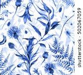 watercolor seamless monochrome... | Shutterstock . vector #502067059