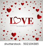 decorative card love with hearts | Shutterstock .eps vector #502104385