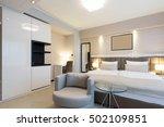interior of a modern hotel... | Shutterstock . vector #502109851