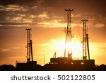 drilling rig at sunset against... | Shutterstock . vector #502122805