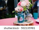 mason jar bouquet centerpiece... | Shutterstock . vector #502135981