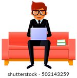 man sitting on the couch with a ... | Shutterstock .eps vector #502143259