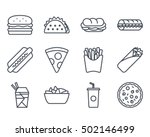 fast food set icon outllined  | Shutterstock .eps vector #502146499