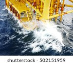 high wave hitting the boat... | Shutterstock . vector #502151959