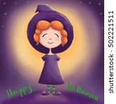 greeting card for halloween. a... | Shutterstock . vector #502221511