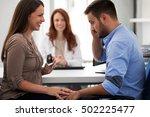 mother holding ultrasound ... | Shutterstock . vector #502225477