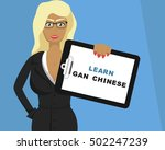 Blonde Girl Hold Tablet With ...