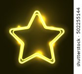 Yellow Abstract Neon Star Shap...