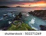 a narrow winding path leads... | Shutterstock . vector #502271269