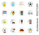 netherlands icons set. flat