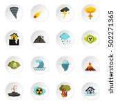 natural disaster icons set.... | Shutterstock .eps vector #502271365