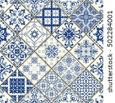 Seamless Patchwork Tile In Blue ...