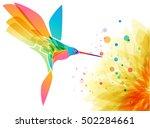 hummingbird bird and flower on... | Shutterstock .eps vector #502284661