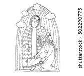 vector coloring book. christmas ... | Shutterstock .eps vector #502290775