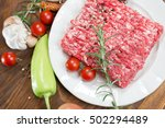 raw fresh ground beef meat  ... | Shutterstock . vector #502294489