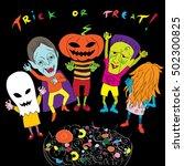 halloween doodles composition... | Shutterstock .eps vector #502300825