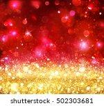christmas bokeh   gold glitter... | Shutterstock . vector #502303681