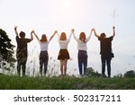 group of happy friendship... | Shutterstock . vector #502317211