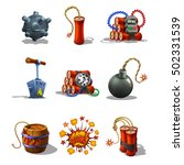set of explosive icons and...