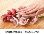 spa hands over bamboo mat   Shutterstock . vector #50233690