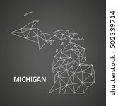 michigan black contour triangle ... | Shutterstock . vector #502339714