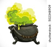 witches cauldron with green... | Shutterstock .eps vector #502348909