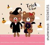 cute doodle couple halloween   Shutterstock .eps vector #502365151