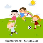 summer kids playing football | Shutterstock .eps vector #50236960