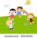 summer kids playing football | Shutterstock .eps vector #50236960