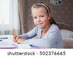 close up little school girl... | Shutterstock . vector #502376665