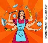 pop art successful housewife.... | Shutterstock . vector #502386559