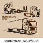 semi trailer truck sketch | Shutterstock .eps vector #502391014