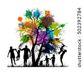 childhood with  tree. vector | Shutterstock .eps vector #502392784