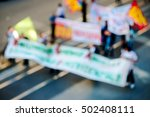 protesters with flags and... | Shutterstock . vector #502408111