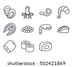 sea food icon set outlined | Shutterstock .eps vector #502421869