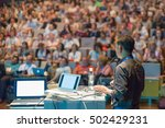 speaker giving a talk on... | Shutterstock . vector #502429231